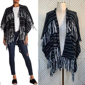 Melrose and Market Knitted Fringe Kimono in Black